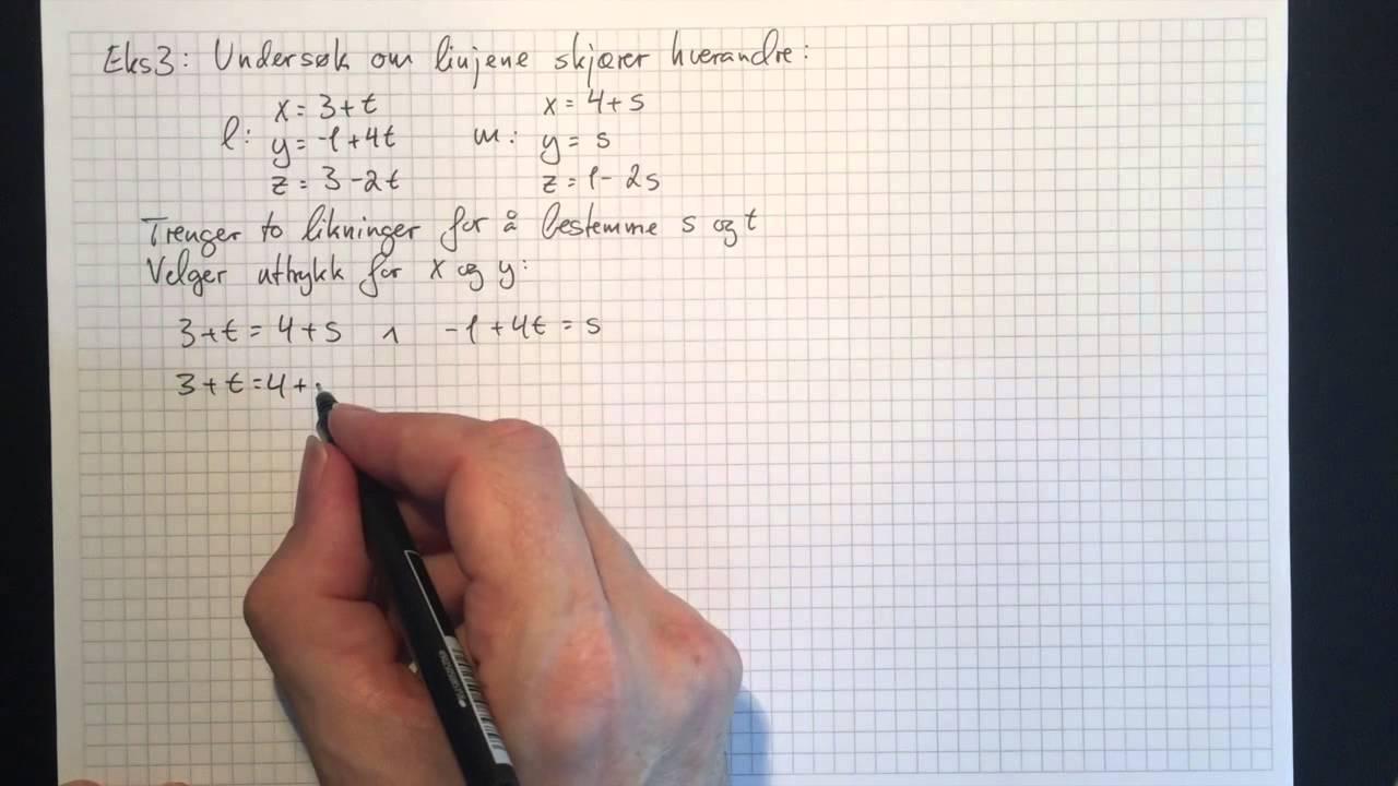 Matematikk R2: Parameterframstilling for rette linjer i rommet Del 2