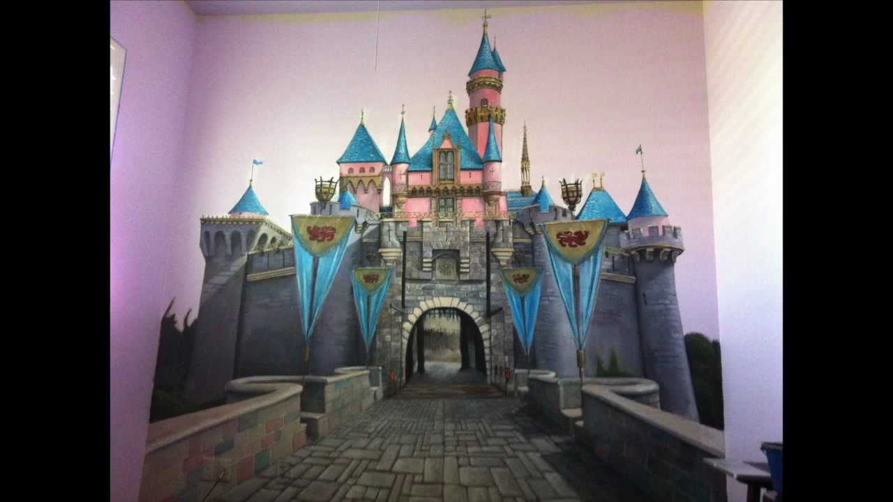 Disneyland sleeping beauty castle wall painting mural for Disneyland mural