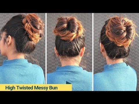 Easy High Twisted Messy Bun With Trick / New Bun Hairstyle For Medium To Long Hair thumbnail