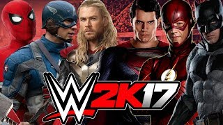 Ironman, Thor And Captain America Vs  Batman, Superman And The Flash   MARVEL VS DC   WWE 2K17