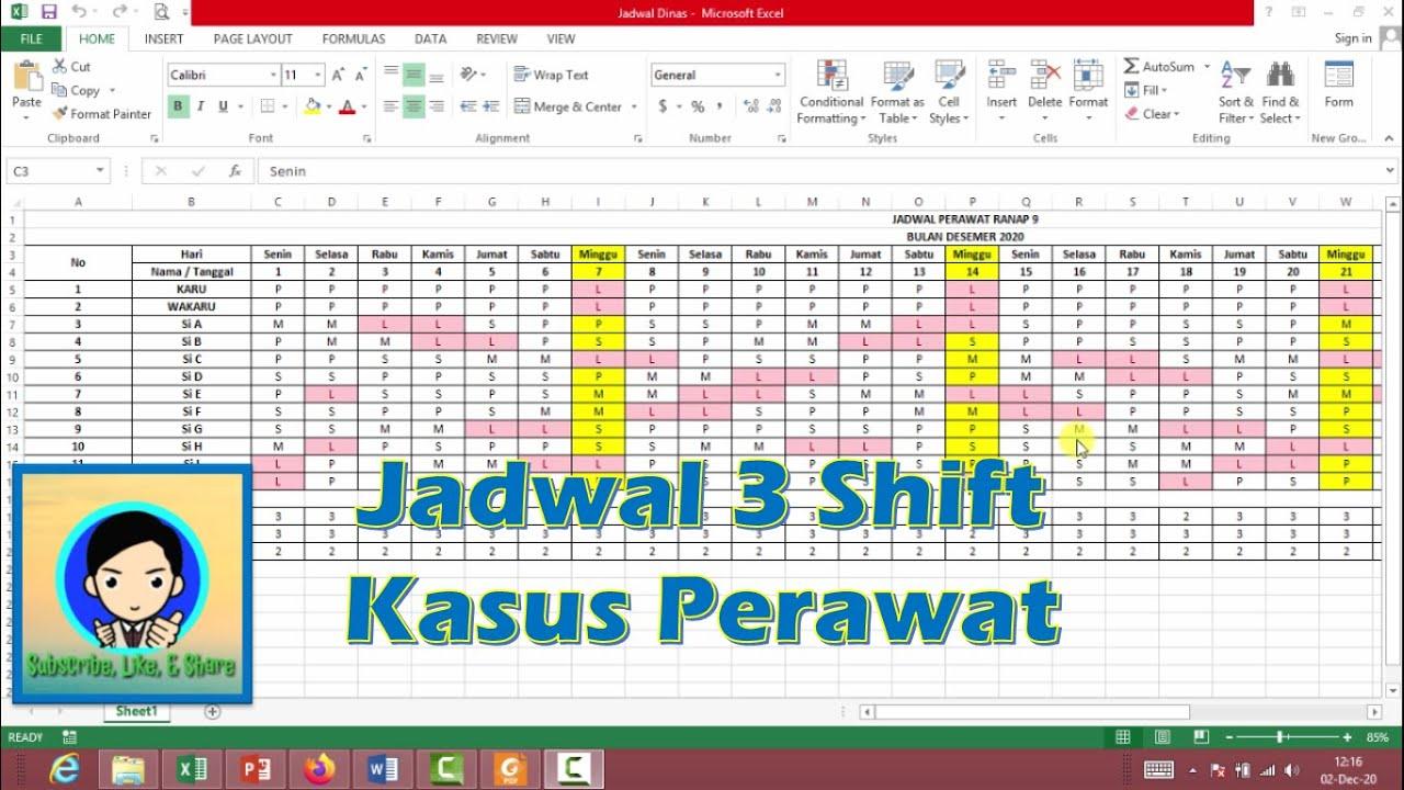 Membuat Jadwal Dinas 3 Shift Kasus Perawat Menggunakan Excel Youtube