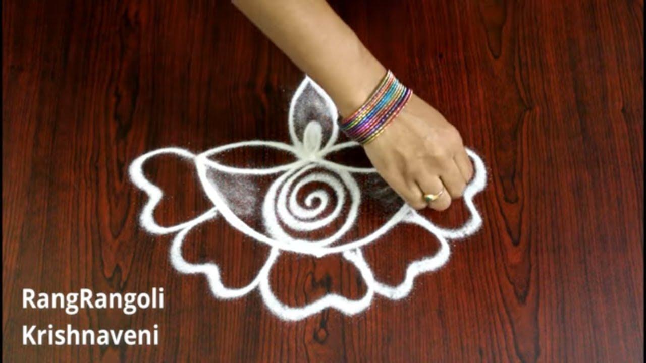 Easy Diya Rangoli Designs with 3*1 dots | Navratri Kolams | Deepavali Muggulu | RangRangoli