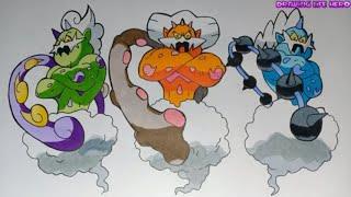 Vẽ Bộ 3 bộ 3 kami pokemon Huyền Thoại Tornadus-Thundurus-Landorus