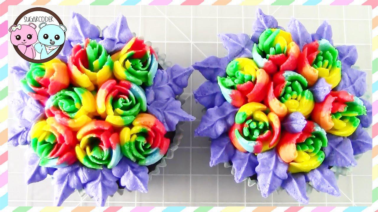 Russian Piping Tips Rainbow Rose Cupcakes Sugarcoder