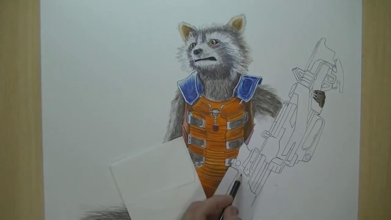 Drawing Rocket Raccoon Speed Drawing By Damin Riestra