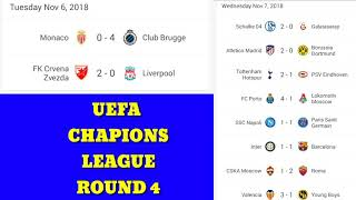 UEFA CHAMPIONS LEAGUE RESULTS ROUND 4/FOOTBALL RESULTS