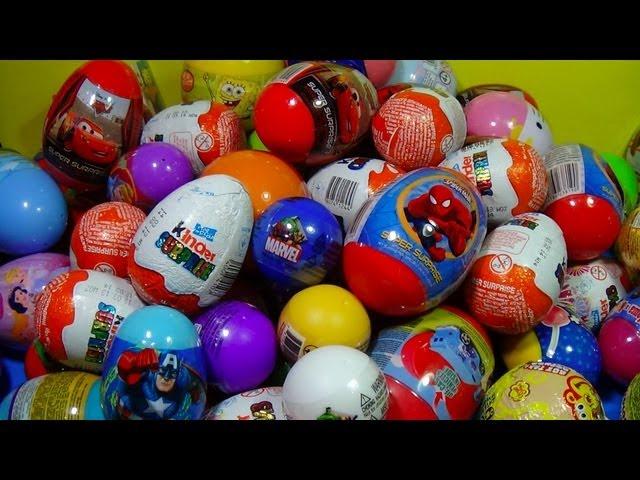 80 Surprise Eggs Kinder Surprise SpongeBob Toy Story Cars Spider man Hello Kitty MARVEL Heroes!