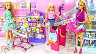 Barbie Supermarket Grocery Store - Rapunzel Grocery Shopping Toko kelontong Barbie Supermercado
