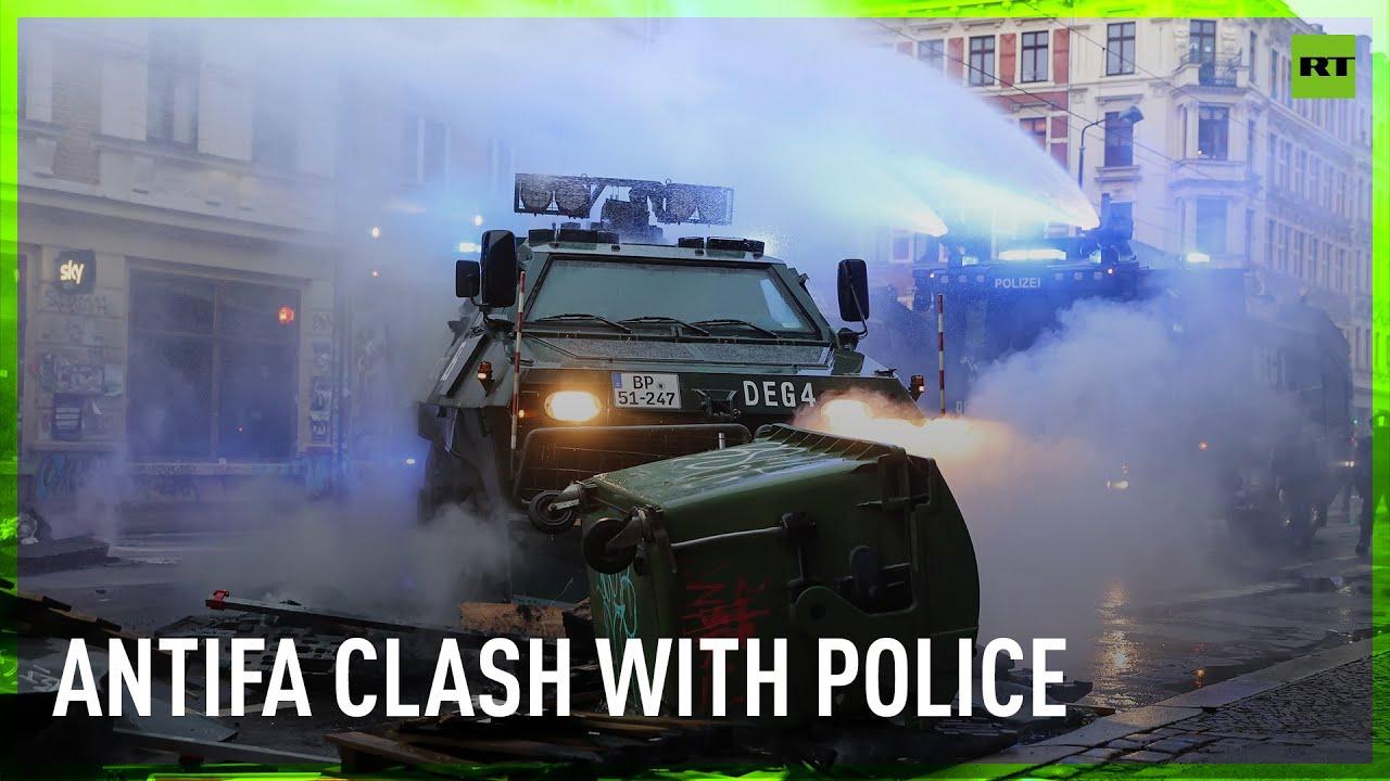 Antifa burn barricades u0026 clash with police at Leipzig protest