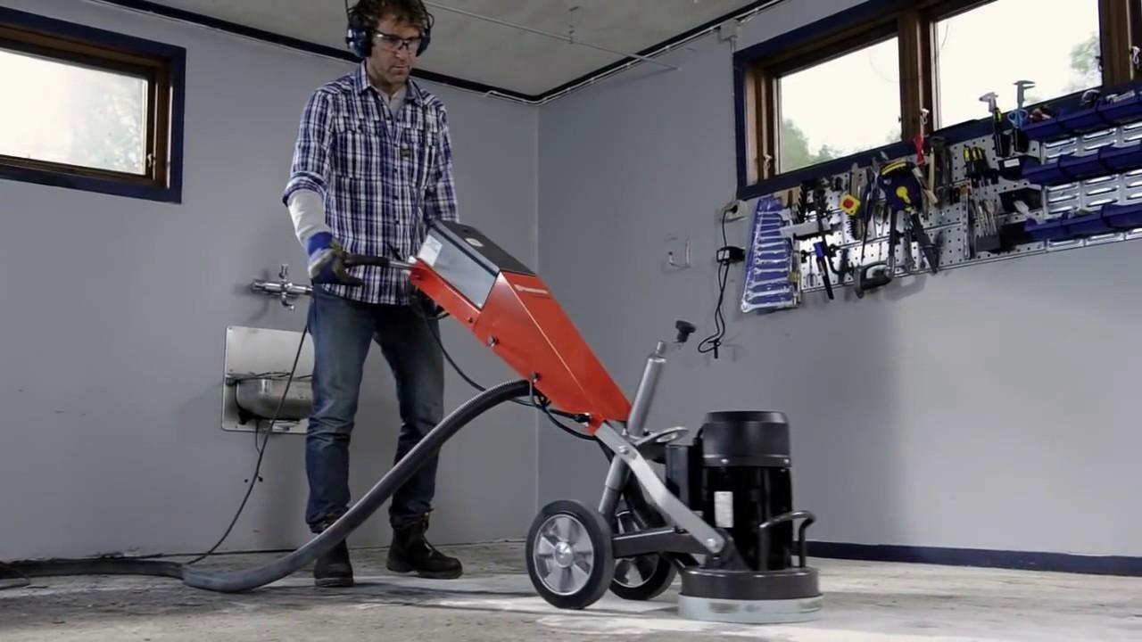 how to grind a concrete floor using a husqvarna floor grinder