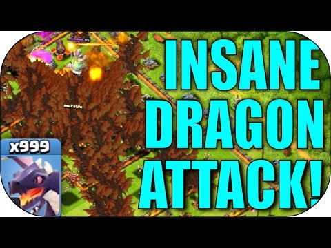 x1000 DRAGON RAID!!! - CoC All Dragons Mass Attack! - Clash Of Clans All Troop Attacks