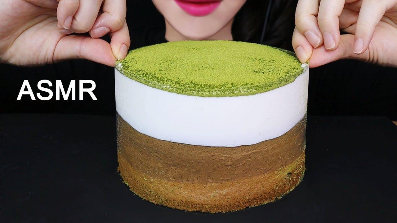 GREEN TEA LAVA CAKE ASMR MUKBANG 녹차 생크림 케이크 먹방(No Talking) SOFT EATING SOUNDS