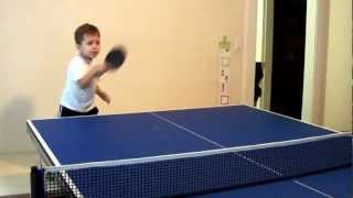 Polish Kid Playing Ping Pong (table Tennis)