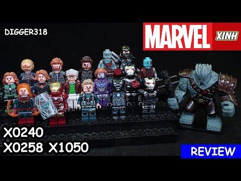 Lego Marvel Xinh Bootleg X0240 X0258 X1050 Rescue Armor Stan Lee Ronin Nebula Thor Review 4K