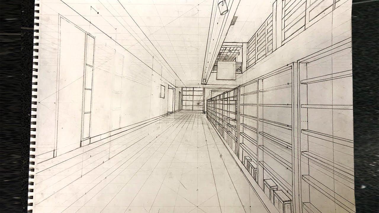 school hallway drawing - 1280×720