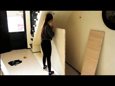 instalasi rak keren bawah tangga - youtube