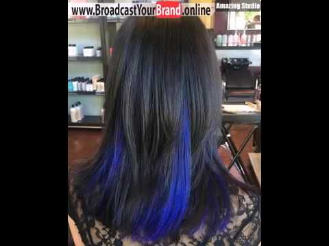 Black Hair With Blue Kaboo Highlights Style
