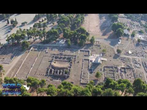 Delphy Epidaurus Sanctuary of Asclepius  Greek Ἐπίδαυρος Epidauros Drone Aerial Video : Greece