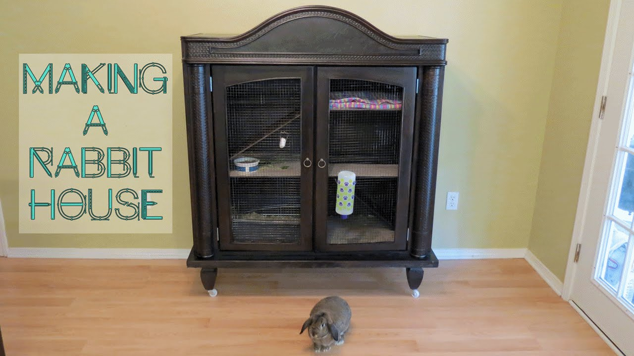 How To Make A Rabbit House From A TV Armoire Cabinet