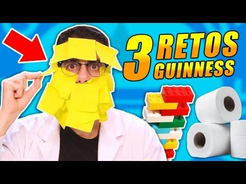 INTENTANDO BATIR 3 RECORDS GUINNESS | RETOS con Lego, Notas Adhesivas y Papel
