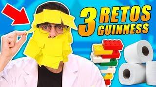 INTENTANDO BATIR 3 RECORDS GUINNESS   RETOS con Lego, Notas Adhesivas y Papel