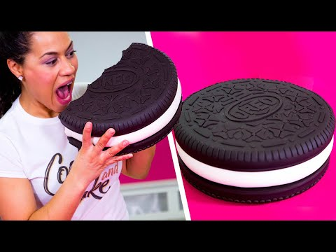 How To Make A GIANT OREO Out Of Chocolate CAKE & BUTTERCREAM   Yolanda Gampp   How To Cake It