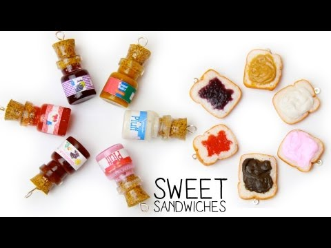 Sweet Sandwiches - How to make Peanut Butter & Jelly & Marshmallow Fluff & Nutella with polymer clay