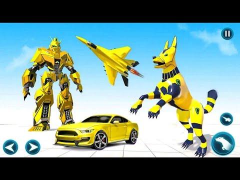 Download Wild Jackal Robot Transform Car War: Car Robot Dog Transform Games 2021 - Android Gameplay