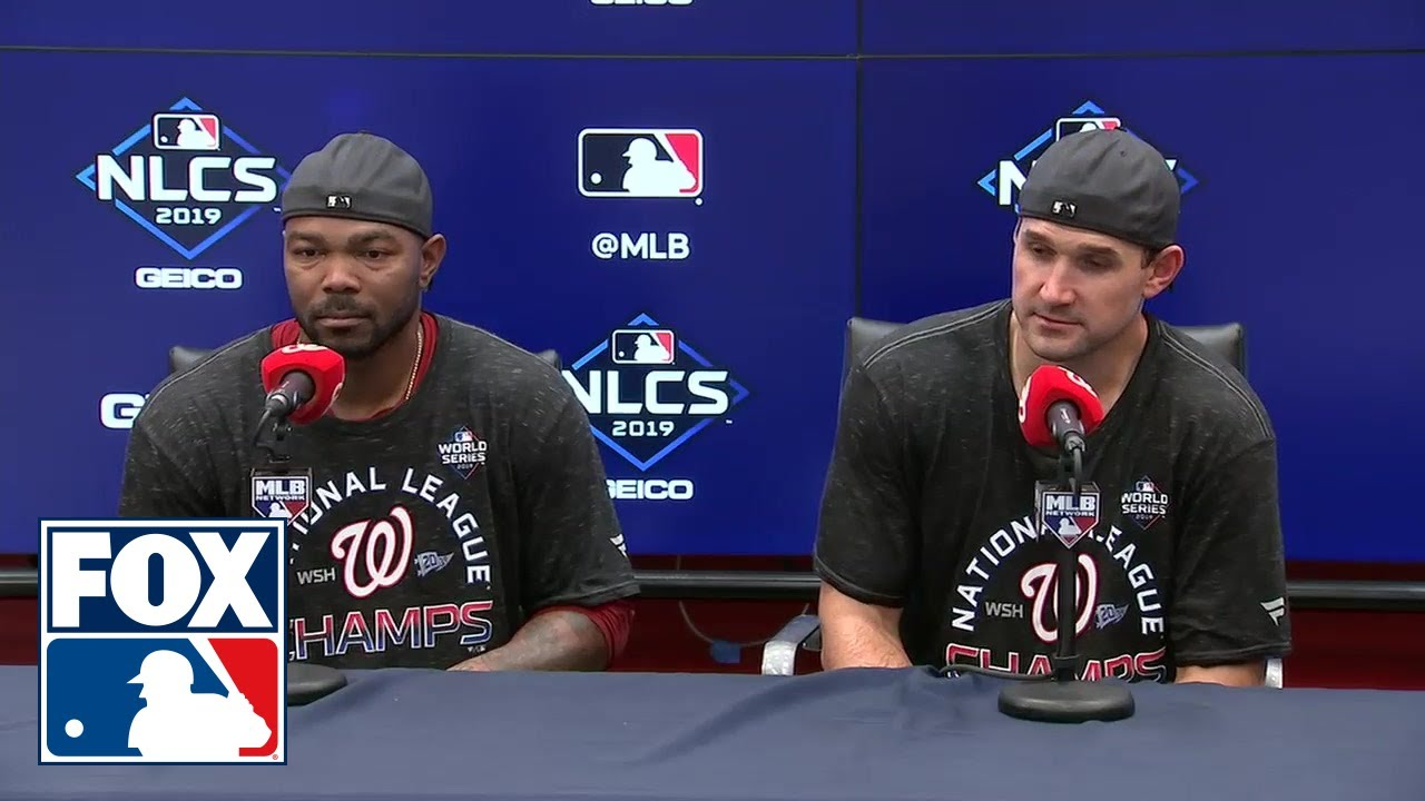 NLCS MVP Howie Kendrick and Ryan Zimmerman at the podium after Nationals clinch NLCS  MLB