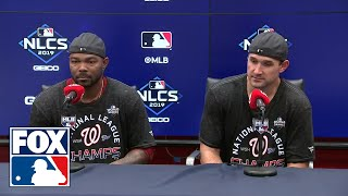 NLCS MVP Howie Kendrick and Ryan Zimmerman at the podium after Nationals clinch NLCS | FOX MLB