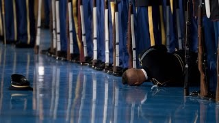 Honor Guard Passes Out During Barack Obama