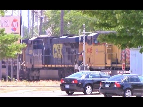 CSX unit in Union Pacific light power move, downtown Ames, Iowa