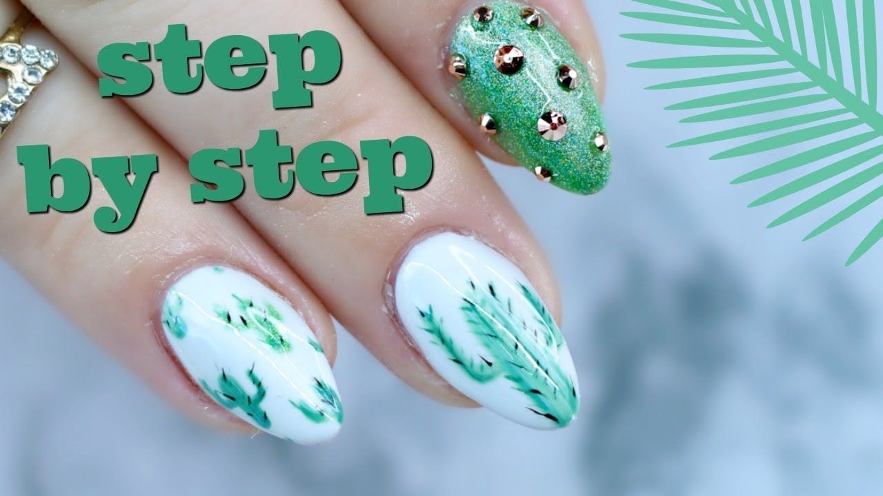 Easy Hand Painted Nail Designs Cactus Vegas Gel Nails Youtube