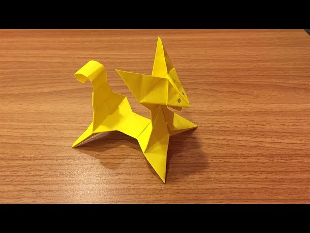 Yellow Paper Art - How to Make Paper Dog / Fox - Origami Folds