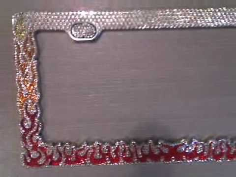 swarovski crystals flames license plate frame