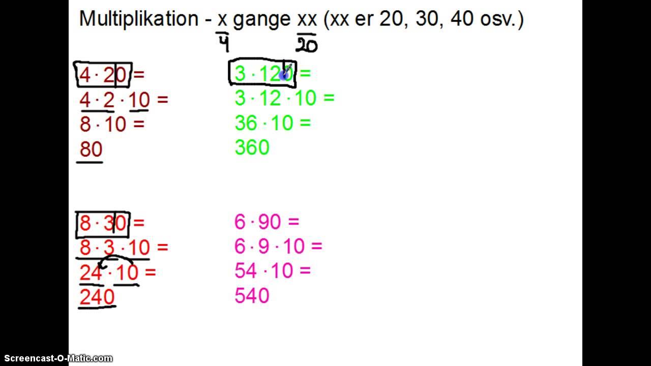 Multiplikation - X gange XX