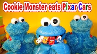Pixar Cars and Cookie Monster eating Micro Drifters Lightning McQueen Counting Cars