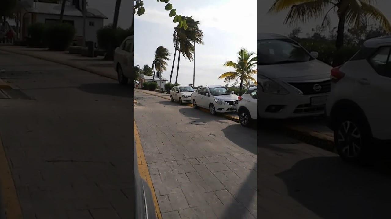 Vehículos del ayuntamiento de Veracruz estacionados arriba de la banqueta