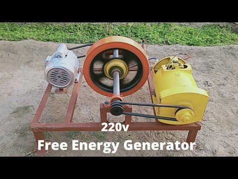 Make Free Energy Generator 220v With 5kw Alternator And Motor Flywheel Free Electricity Generator