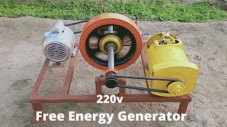 make Free Energy Generator 220v With 5kw Alternator And Motor Flywheel Free Electricity Generator