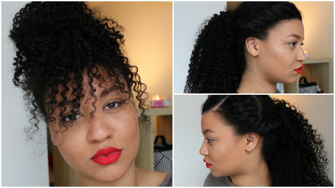 curly hairstyles with clip-ins⎜faux bangs, curly ponytail⎜her