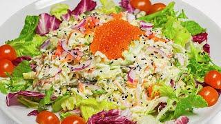 Салат из крабовых палочек с морской капустой и имбирем. Рецепт от Всегда Вкусно!