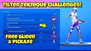 """HOW TO UNLOCK NEW """"TILTED TEKNIQUE"""" SKIN STYLES, PICKAXE & GLIDER In Fortnite! SPRAY SAIL & MORE!"""