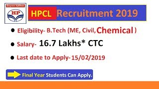 HPCL Recruitment Throguh GATE 2019, CTC- 16.7 Lakhs, Eligibility, Last date to apply