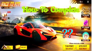 Race To Ace Fŗee fire/How we complete Lap/How to complete Race to ace mission/Race to ace mission ka