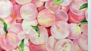 수채화로 복숭아 그리기 / 맛있는 복숭아그림 / wat…