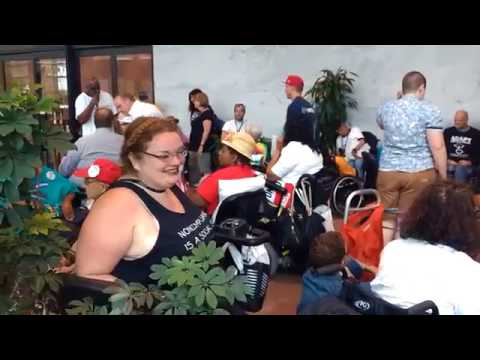 Arrested disabled protesters held at the Hart Senate Office Building