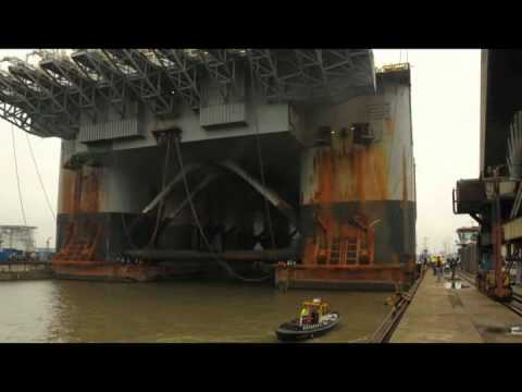 Lifting vessel Thialf in drydock at Keppel-Verolme in Rotter