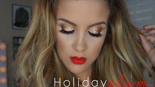 Holiday Glam Makeup: Gold Glitter + Matte Lips