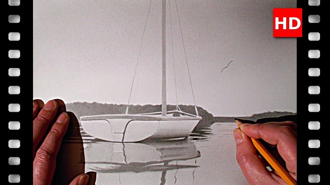 Comment dessiner un petit voilier sur un lac youtube - Voilier dessin ...